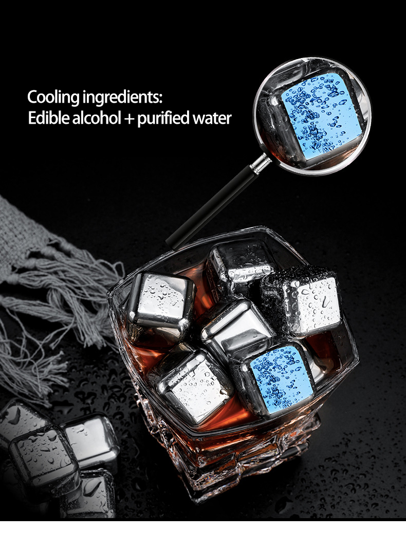Crystal - Stainless Steel 304 Stones Ice Cubes Quick Frozen Ice Cubes Whiskey Cooler Rocks 4/6/8pcs Metal Ice Tools With Plastic Box