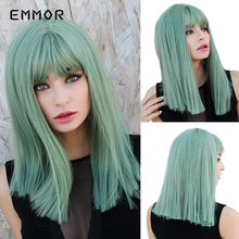 Emmor Medium Offbeat Mint Green Straight Smooth Synthetic Hair Wigs with Bangs High Temperature Cosplay Daily Wig for Women emmor long dark brown ombre wavy synthetic hair wigs with bangs high temperature layered fluffy daily wig for women