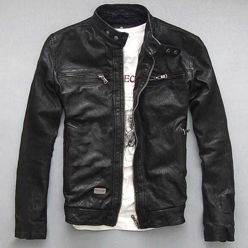 Chaquetas de cuero automotrices europeas y americanas de talla grande 5XL estilo Punk para hombre chaqueta de cuero Real Streetwear C1680