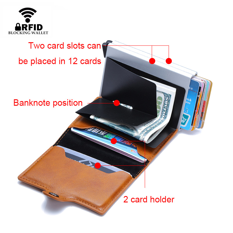 Image 4 - Top Quality Rfid Wallet Men Money Bag Mini Purse Male Aluminium Card Wallet Small Clutch Leather Wallet Thin Purse carteras 2020Wallets   -