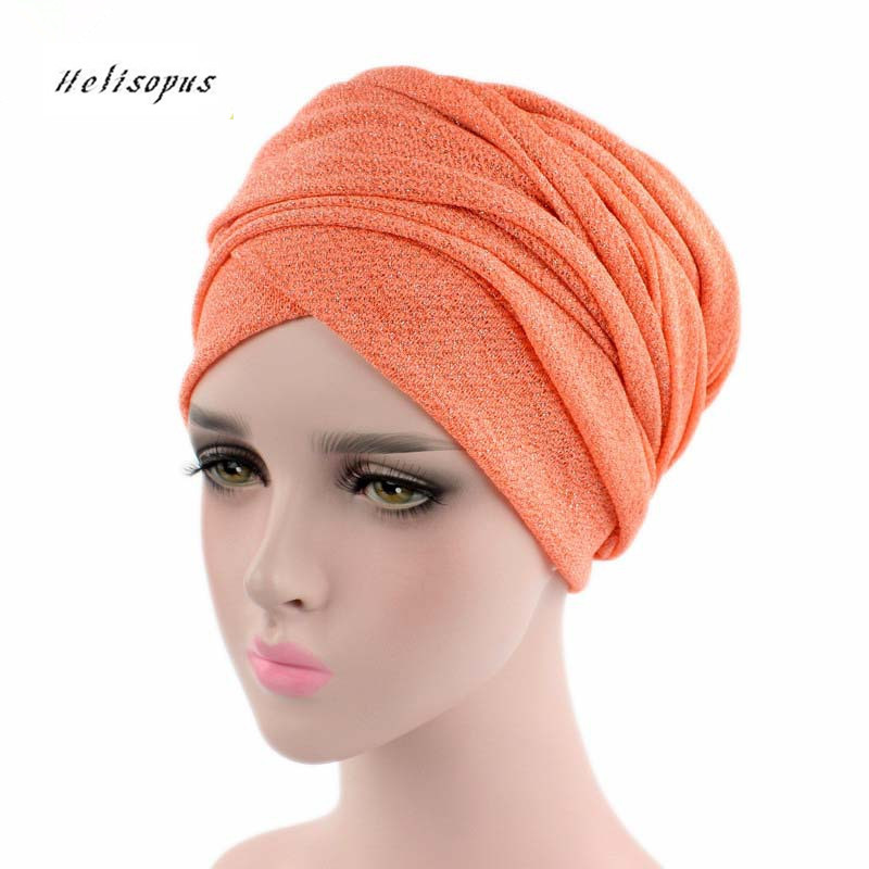 Helisopus Women New Bright Color Stretch Cloth Hat Scarf Ladies Hair Accessories Fashion Headband Wrapped Head Tail Cap