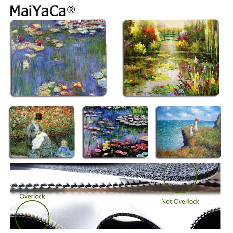 MaiYaCa Vintage Cool Claude Monet Garden Lotus  Small Gaming Mouse Pads Desk Mat Rubber PC Computer Mousepad For PC