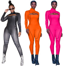 2020 High Elastic Women Jumpsuit Long Sleeve Open Back Zippe