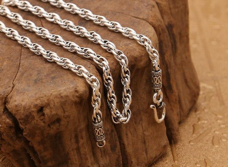 S925 bijoux en argent sterling rétro Thai argent unisexe classique torsion collier avec chaîne livraison gratuite 4mm