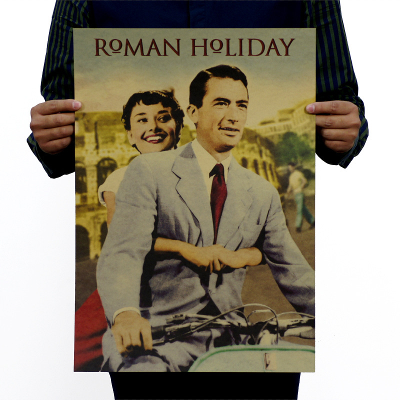 Roman Holiday Vintage Kraft Paper Classic Movie Poster Map School Wall Office Decoration  Art  Retro Prints