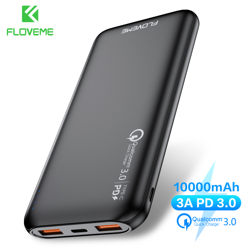 FLOVEME <font><b>Power</b></font> <font><b>Bank</b></font> 10000mAh Quick Charge 3.0 + PD Fast Charger Powerbank <font><b>10000</b></font> mAh External Battery for Xiaomi <font><b>Mi</b></font> iPhone image