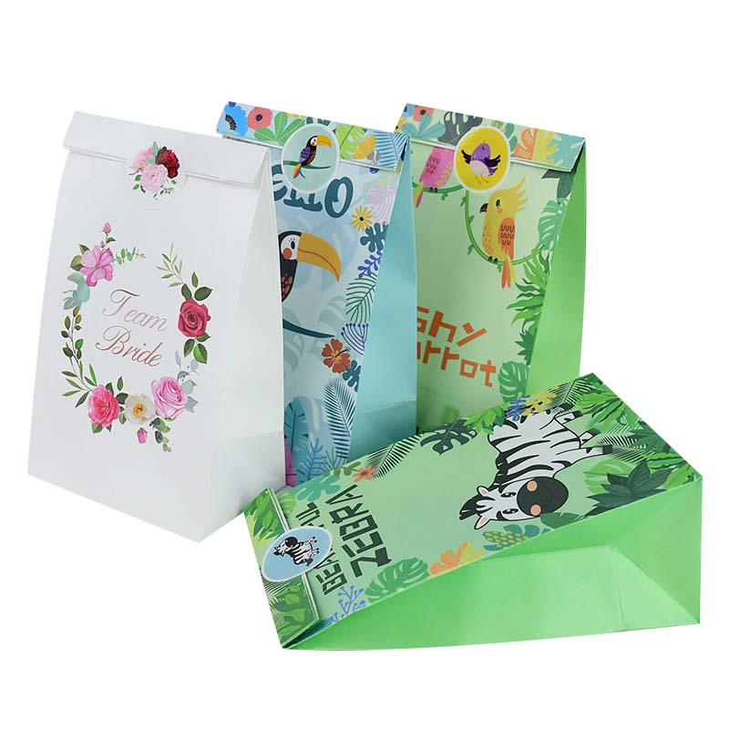 12 Pcs/lot Boutique Gift Packaging Bag Free 18pcs Matching Stickers Baby Shower Wedding Party Gift Packaging Box