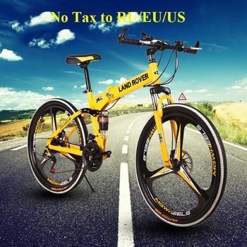 Folding Road Bicycle Mountain Bike 21 24 27 Speeds One Wheel Double Disc Brake Bike 26 Inch Mountain Bike