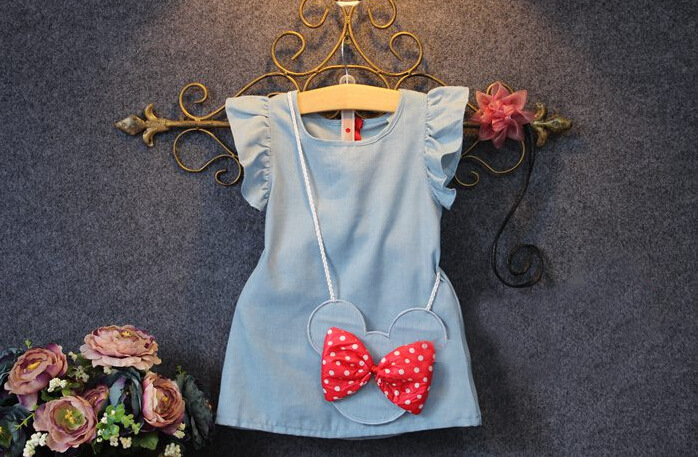 2019 Hot Sale Real Straight Bow Nylon Baby Toddlers Kids Girl Solid Dress Minnie Mouse Sleeveless Bag Demin Casual Dresses 1-5y