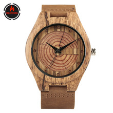 REDFIRE Vintage Fashion Wood Annual Rings Men's Watch Natural Wood Clock Genuine Leather Mens Casual Watches reloj de madera light green brown dial wood watch minimalism simple wooden natural bamboo male female genuine leather gift clock reloj de madera