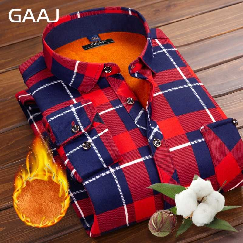 Gaaj Mannen Shirt Lange Mouw Bloemen Formele Mode Print Plaid Geruite Casual Shirts Katoen Sociale Shirts Warm Met Bont Voor mens