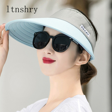 Sun Hat Summer Empty Top Hats Fashion Visors Women Foldable Wide Brim With Outdoor Travel Beach Cap Anti-UV Headwear Sunscreen