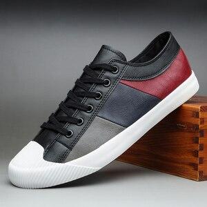 Image 5 - 2020 Nieuwe Herfst Mannen Casual Gevulkaniseerd Schoenen Britse Mode Mannen Pu Lederen Schoenen Ademend Sneakers Mannen Designer Flats