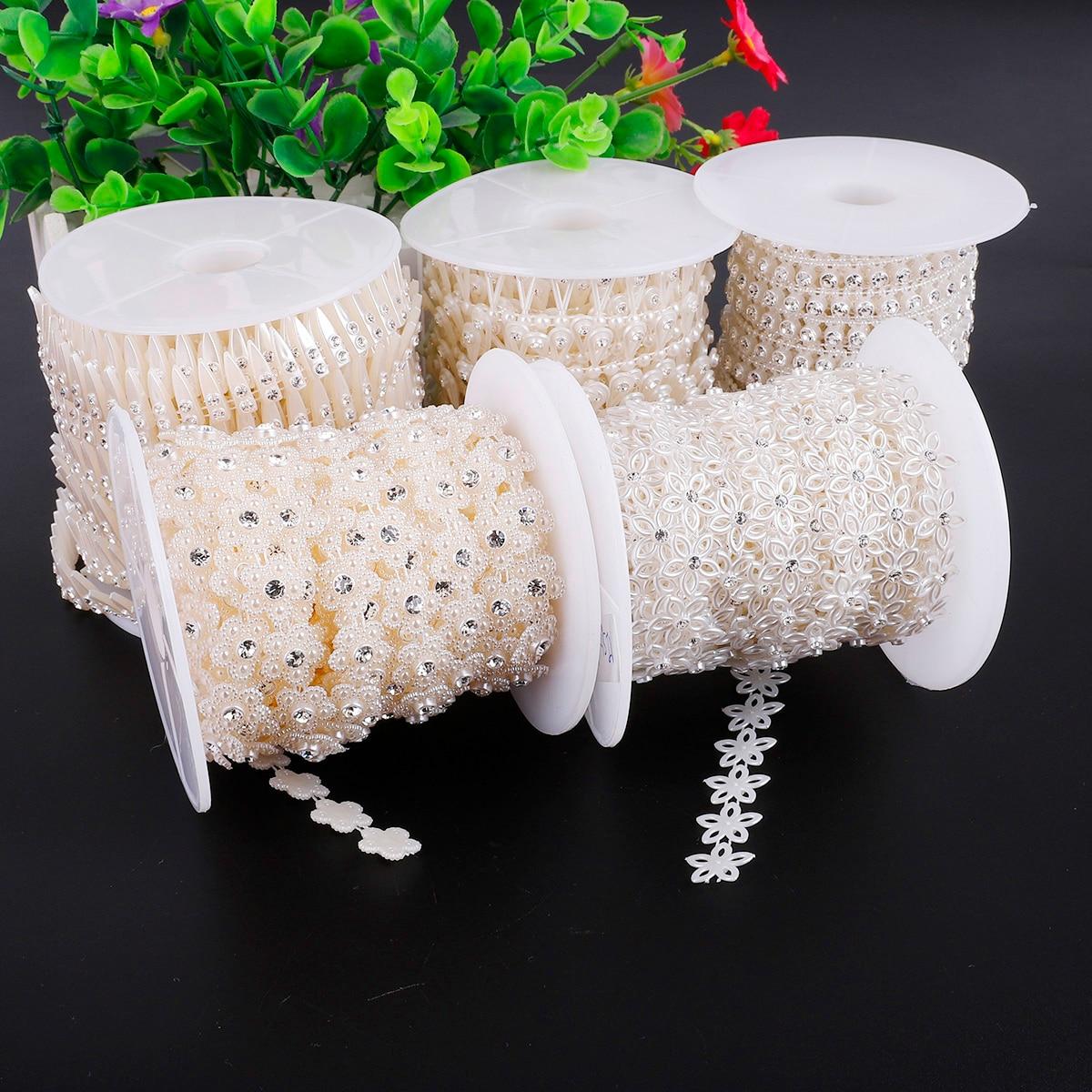 1-5 m/saco abs imitação pérola contas strass linha de corrente fio cabo guarnição para fazer jóias diy festa de casamento artesanato acessórios