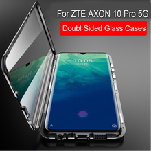 Magnetic Adsorption Case For ZTE AXON 10 Pro 5G Metal Frame Doubl Sided Glass Cover For ZTE AXON 10 Pro 5g Protective Phone Case