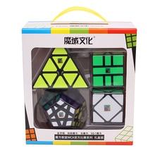 Moyu Meilong Conjunto de regalo de 4 Uds., Mofangjiaoshi cubo mágico, rompecabezas de velocidad, juguetes educativos para niños, juegos profesionales