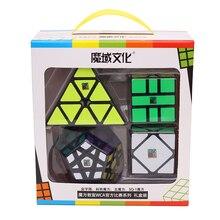 Moyu Meilong pakiet 4 sztuk zestaw pakowanie prezentów magiczna kostka Mofangjiaoshi Puzzle do układania na czas edukacyjne zabawki dla dzieci profesjonalne gry