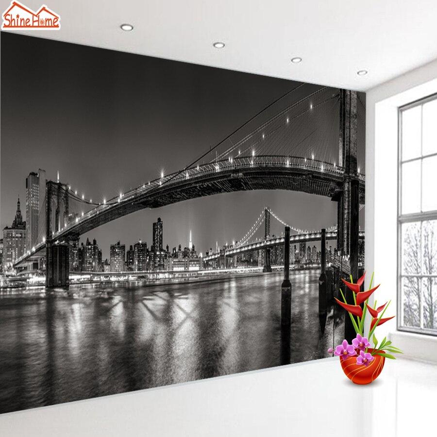 New York Night Bridge City 3d Mural Wallpapers For Living Room Wallpaper Wall Paper Papers Home Decor Murals Glitter Vinyl Mural Mega Sale C3f35e Cicig