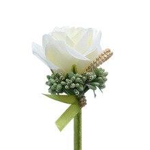 Бутоньерка Цветы Свадьба Корсаж Булавки Белый Роза Лента Бутоньерка Для Жениха Мужчина Свадьба Свидетель Брак Аксессуары