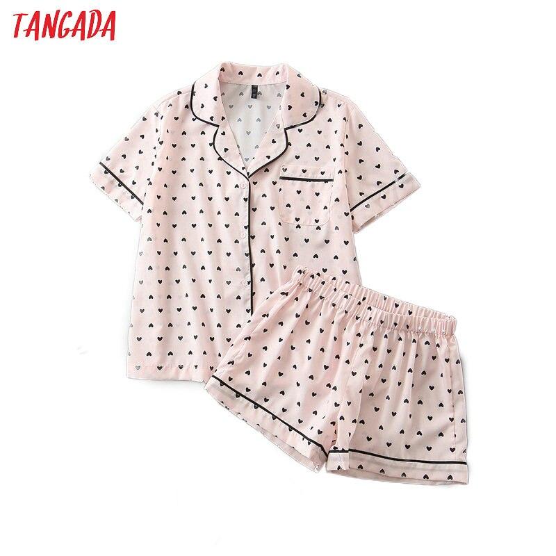 Tangada 2020 Summer Women Sweet Pink Heart Print Tops Shorts Set Suit 2 Piece Set Shirt And Shorts High Quality HY234