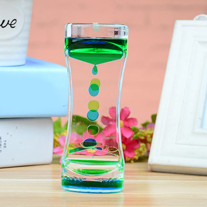 Liquid Visual Movement Hourglass Double Color Floating Liquid Oil Acrylic Hourglass Timer Home Desk Table Decor Hourglass TSLM1(China)