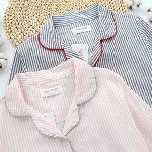 Image 3 - Sleepwear Womens Cotton Home Suit Pajamas Winter Long Sleeve Stripe Pyjama Female Casual Lounge Set Dropshipping