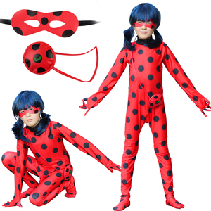 Lady Costume Bug Girls Fancy adult women Cosplay Jumpsuit children Spandex Lady costumes bug for Kids Suits Wig Bag Halloween