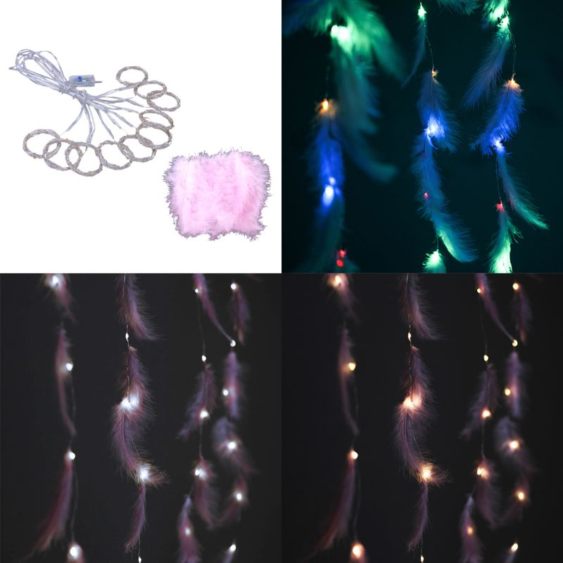USB Feather String Light Sweet Romantic Decorative Lamp Party Home Bedroom Decor