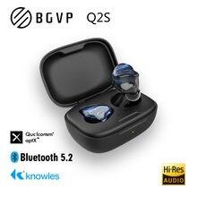 Bgvp q2s tws qcc3040 qualcomm knowles 3d alta fidelidade música personalizado sem fio bluetooth 5.2 fone de ouvido sem fio esportes binaural fones