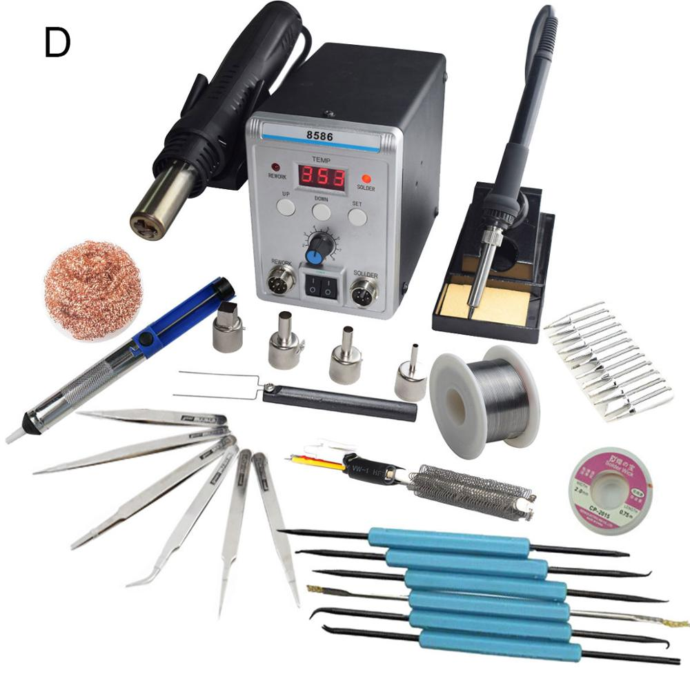 Bebas SMD Solder LED Digital Solder Besi Hot Air Gun Blowser Eruntop 8586 title=