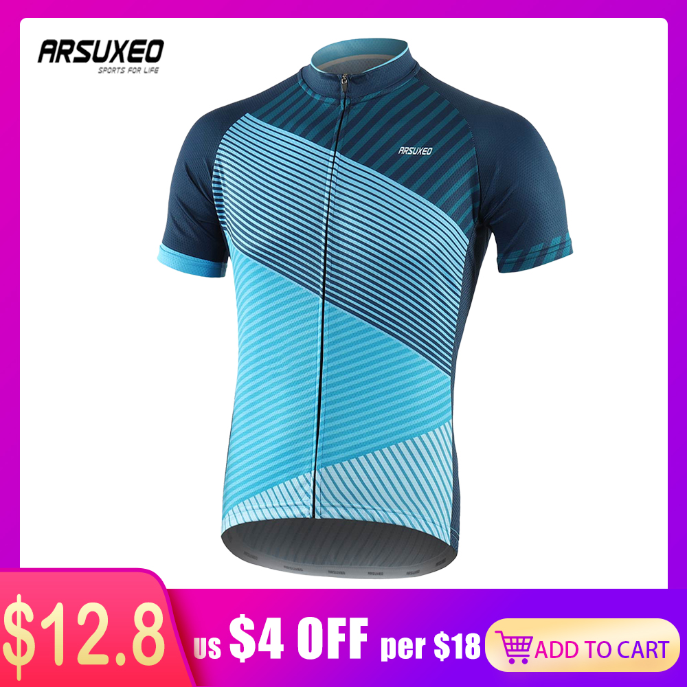 ARSUXEO 2020 Men's Cycling Jersey Quick Dry Bicycle Shirts Full Zipper MTB Jersey Mountain Bike Clothing For Summer Z10S