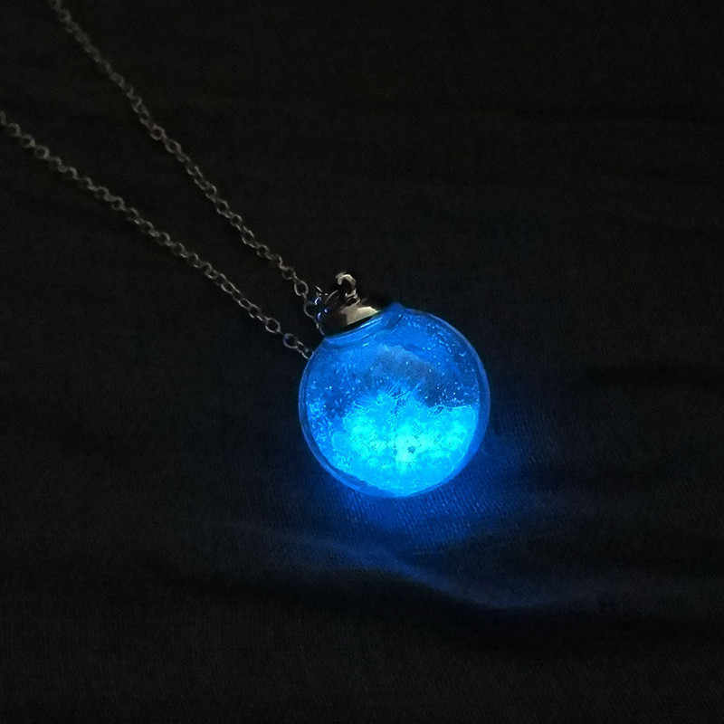 UpBeauty Fashion Dandelion Necklace Crystal Ball Pendant Long Chain Lover Gifts Pendant Necklaces