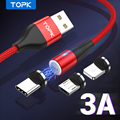 Магнитный кабель для передачи данных TOPK, 1 м, Micro USB, Type C, зарядное устройство для Samsung, Xiaomi, магнитный кабель для iPhone, Android