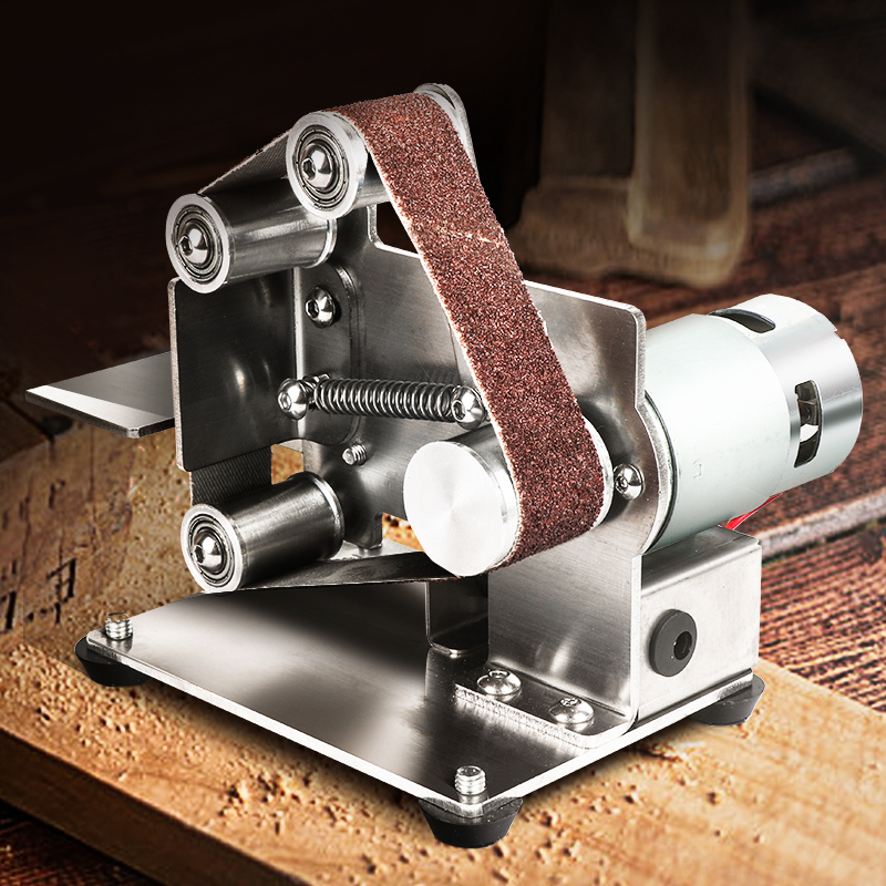 Mini Electric Belt Machine DIY Sanding Polishing Machine Portable Metal Belt Sander Edges Sharpener Machine Belt Grinder