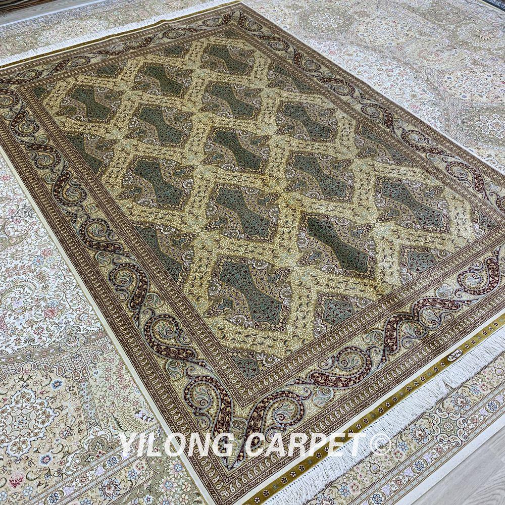 Yilong 5,5'x8 'persisk gulvtæppet rektangelgrønt tyrkisk - Hjem tekstil - Foto 3