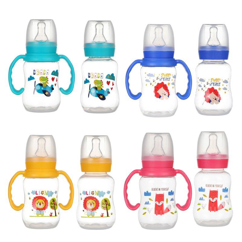 120ml Newborn Baby Infant Nursing Milk Fruit Juice Water Feeding Standard Mouth Silicone Nipple Pacifier Drink Bottle