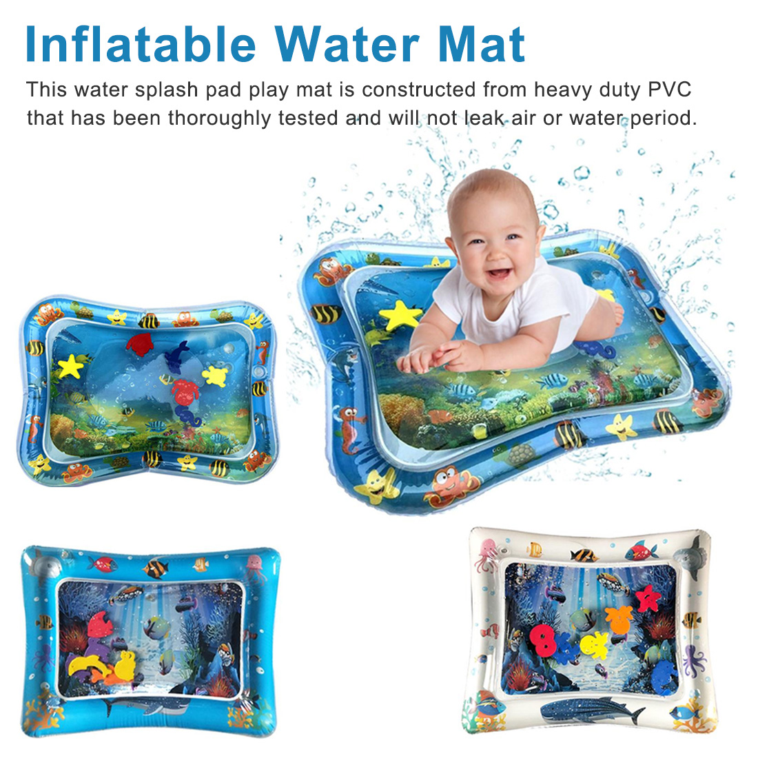 1pcs Inflatable Baby Water Mat Infant Tummy Time Play Mat Toddler Fun Activity Play Center For Sensory Stimulation Motor Skills