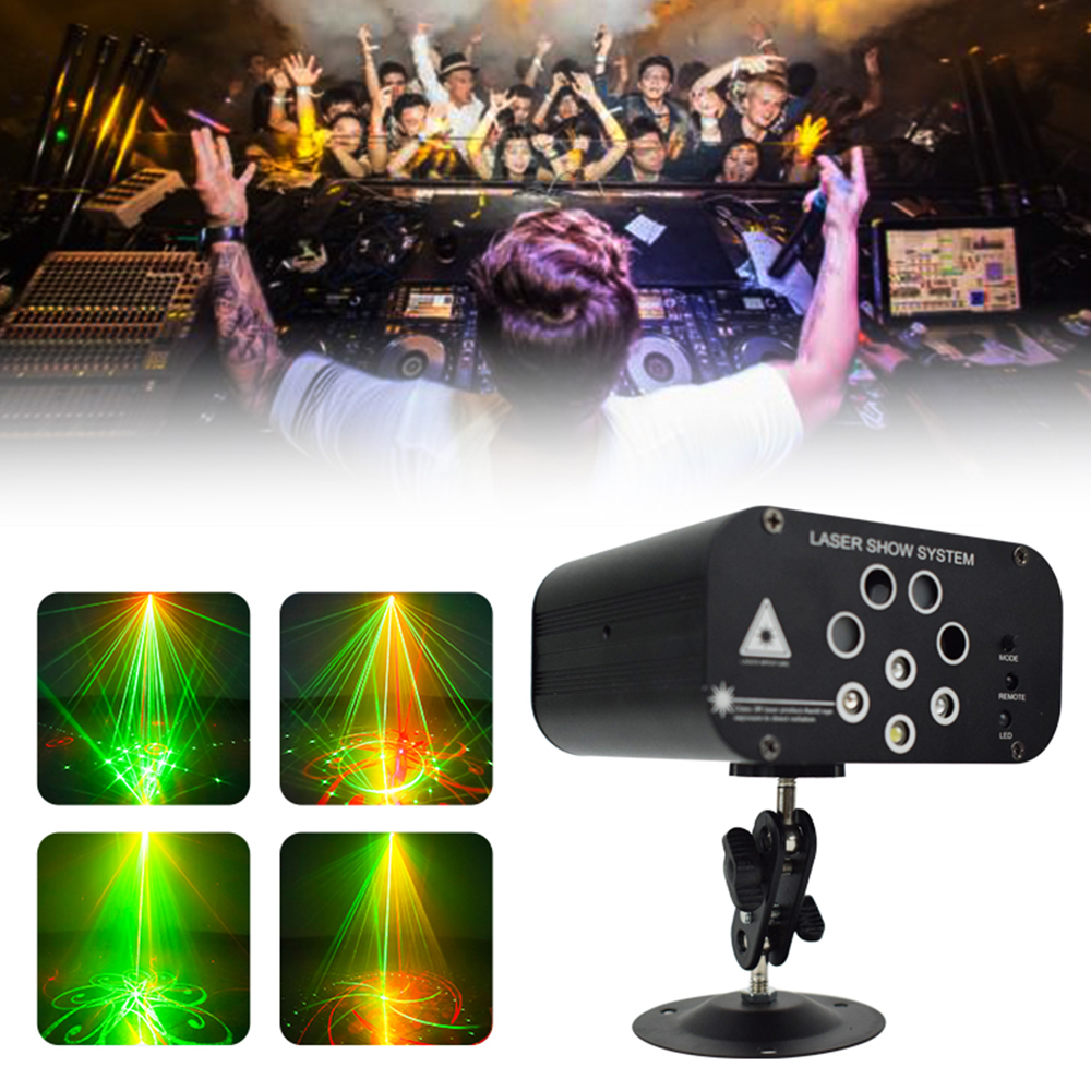 128 Patterns RGBW DJ Mini Laser Projector Lights Voice Control Music LED Disco Lighting For Wedding DJ Bar Party Stage Light