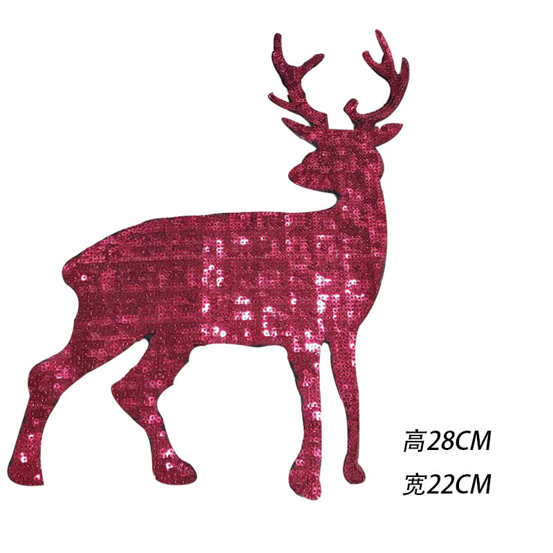 2Pcs Pink Deer Sequins Patches For Clothes Bags Sew On Accessories DIY Patch Clothing Coat