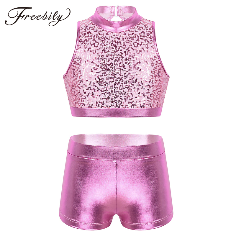 Kids Jazz Hip Hop Street Dance Costume Outfit Girls Clothes Sequins Cutout Crop Top Metallic Shorts Stage Performance Dance Wear