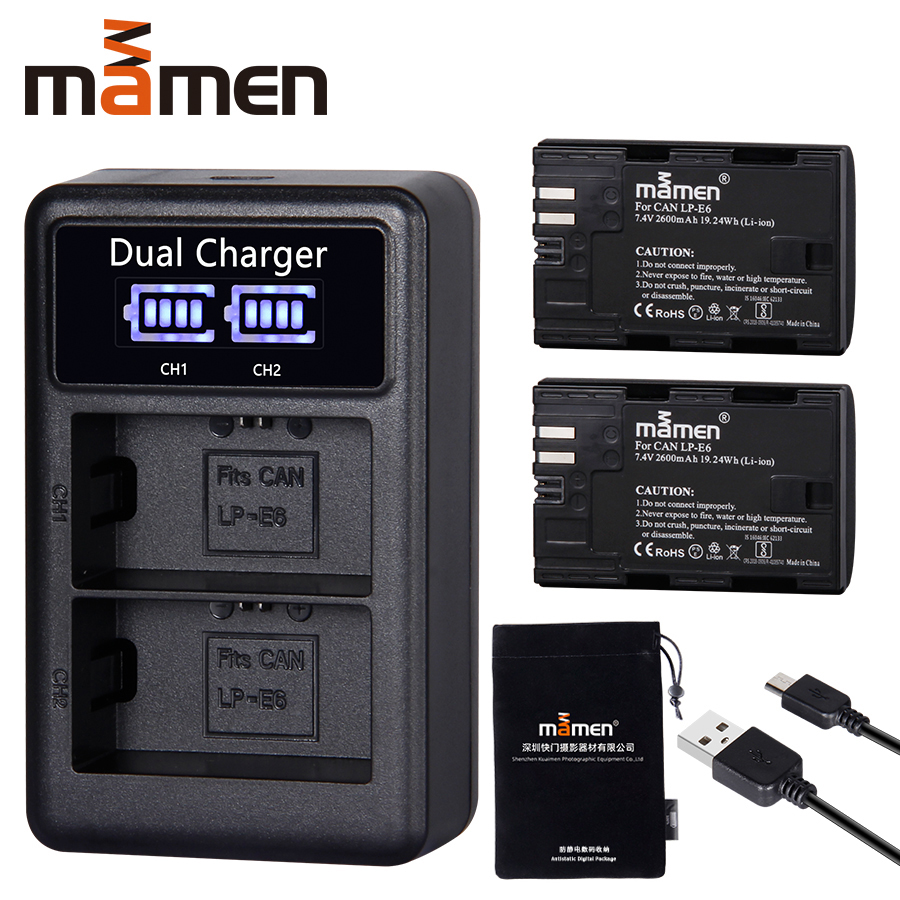 2600mAh LP E6 LP-E6 LPE6 Digital Camera Battery +USB LCD Dual Charger For Canon Mark II Mark III 6D 7D 60D 60Da 70D 80D 5DS 5D