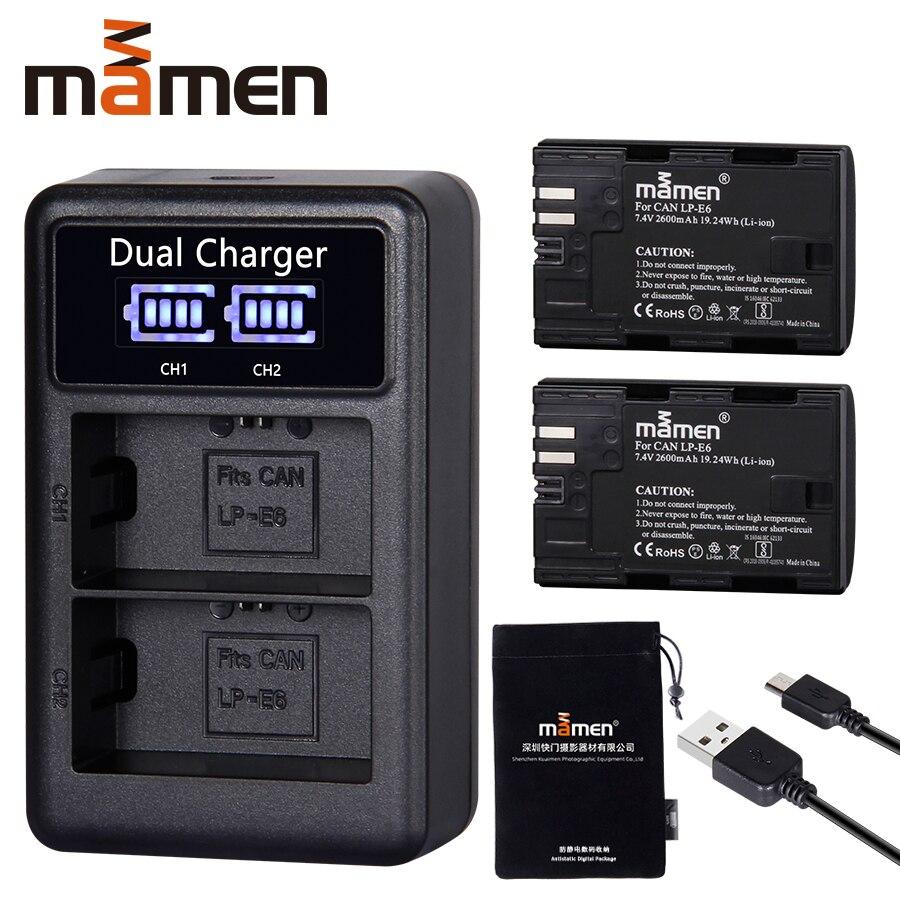 2600mAh LP E6 LP-E6 LPE6 Digital Kamera Batterie + USB LCD Dual Ladegerät für Canon Mark II Mark III 6D 7D 60D 60Da 70D 80D 5DS 5D