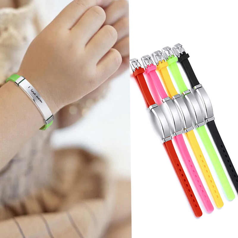 Custom Child SOS ID Silicone Bracelets Rubber Brands Name Phone Number Date Adjustable Baby Personalized For Boy Children Girls