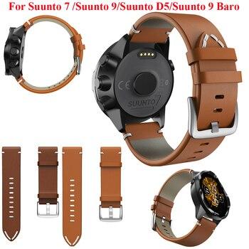 JKER 24mm Genuine Leather Watch Strap For Suunto 9 / Baro /Suunto 7 D5/Suunto Spartan Sport Wrist HR Watchband