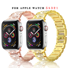Diamond Band + Case For Apple Watch 6 5 4 40mm 44mm iWatch Series 3 2 1 38mm 42mm Bracelet Apple Watch Stainless Steel Strap