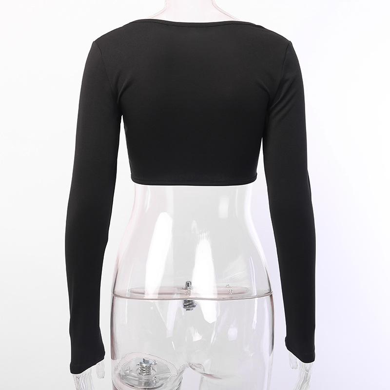 Женская футболка с длинным рукавом goth girl dark Осенний облегающий