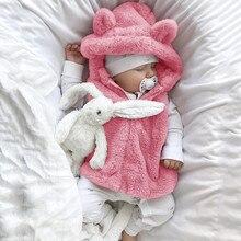 Теплая одежда для маленьких девочек, пальто без рукавов, флисовая верхняя одежда с капюшоном и рисунком, жилет, теплое пальто