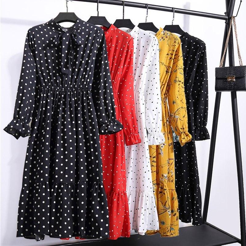 2020 Midi Floral Long Sleeve Dress Female Korean Black Shirt Vestidos Office Polka Dot Vintage Autumn Dresses Women Winter Dress