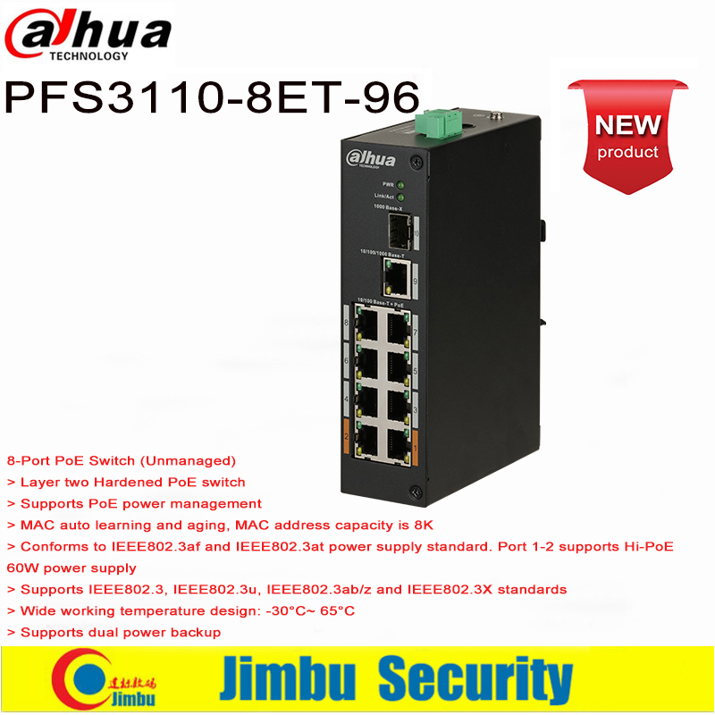 Dahua DH-PFS3110-8ET-96  8*10/100Mbps PoE Ports, 1*100/1000 Mbps Optical Port And 1*10/100/1000Mbps Ethernet Uplink Port
