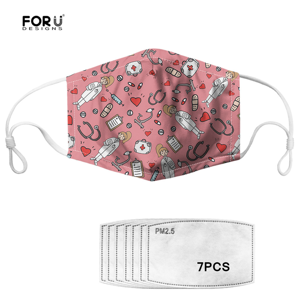 FORUDESIGNS Ketch Nurse Pink Women Masks With 7 Filters Clothing Accessories Dustproof Mouth Mask Breathable Face Mouth Masks